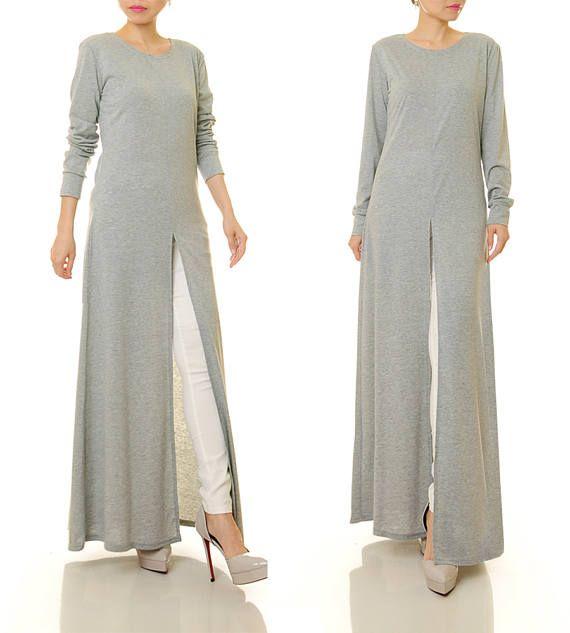 Grey Abaya Maxi Dress Long Sleeve Maxi Dress High Slit
