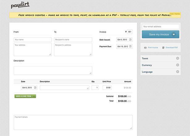 25+ parasta ideaa Pinterestissä Invoice creator - free online invoice forms