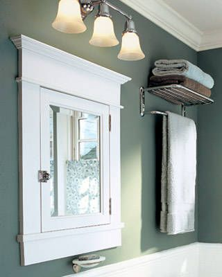 wonder if i can use some crown and other trim pieces to update my tired medicine cabinet to look like this