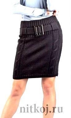 Деловая юбка спицами «Офисный стиль» .