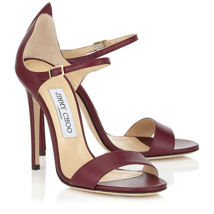 Dark Shiraz Kid Leather Sandals | Moxy 110 | Spring Summer 16 | JIMMY CHOO