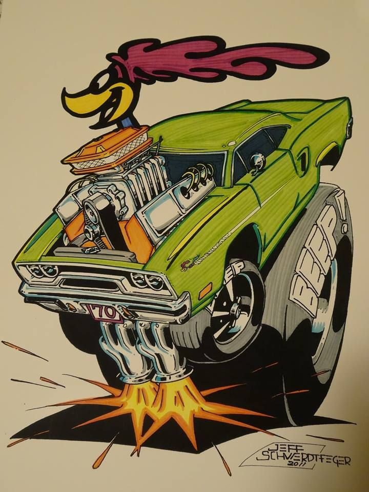 """""""Beep Beep"""" Road Runner artwork by Jeff Swerdtfeger (ca. 2011) in the style of Ed """"Big Daddy"""" Roth"""