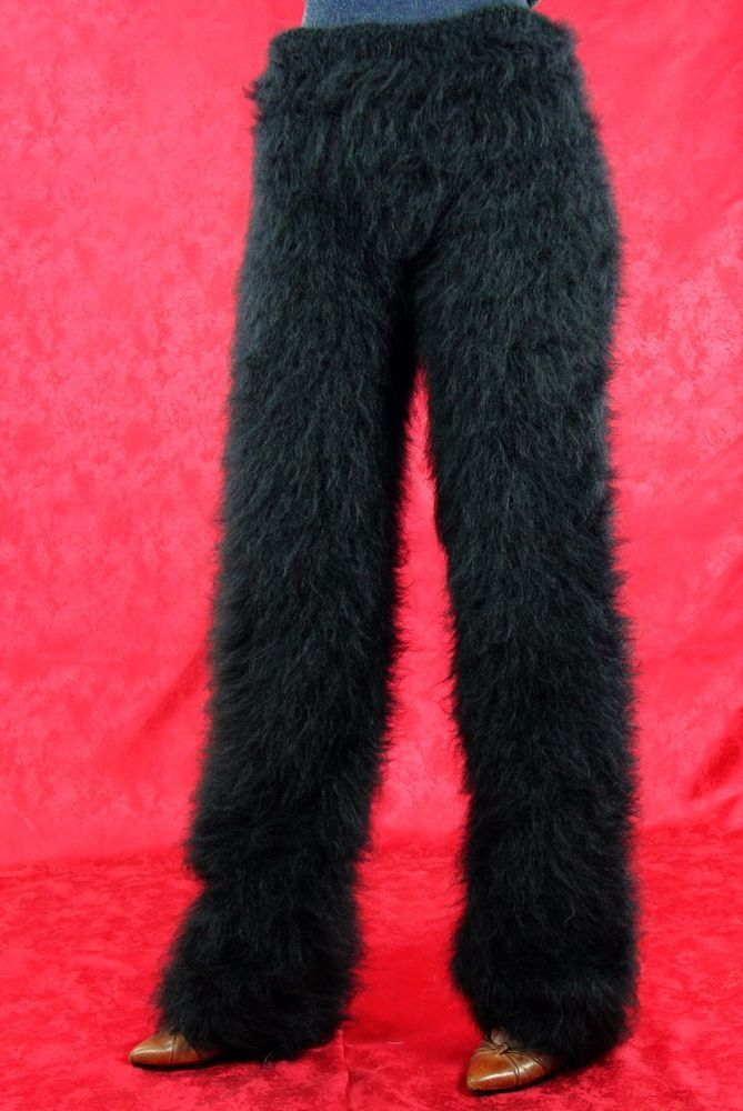 SUPERTANYA BLACK hand knitted mohair pants fuzzy trousers handmade leggings SALE #SuperTanya #Casual