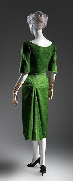 Dress, green wool, Charles James, AW 1952-1953, the Met