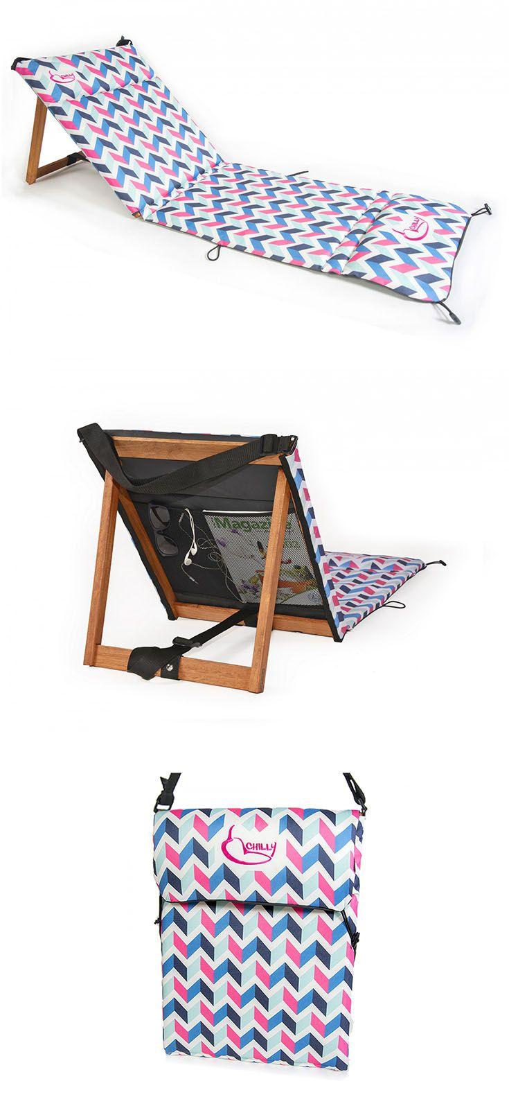 La Reposera Chilly 3D es liviana, portátil y canchera. Se convierte en bolso para llevarla a donde quieras. ▶ Correa para transportar ▶ Estructura de madera ▶ Inclinación regulable ▶ Bolsillo de red