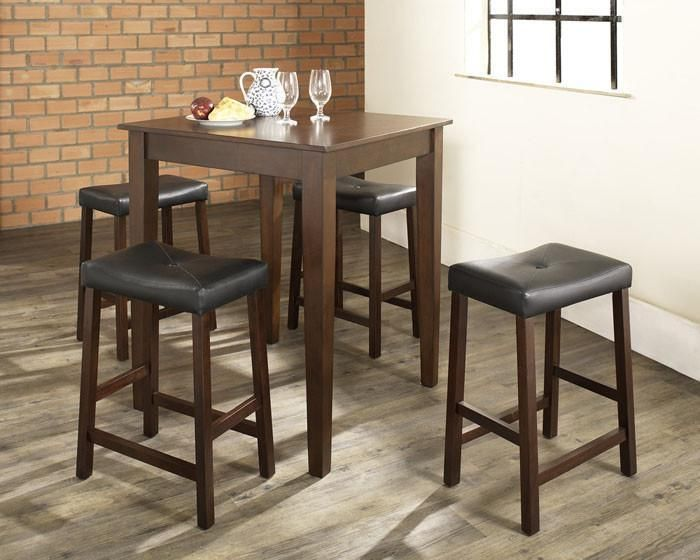 Crosley Furniture KD520008MA 5 Piece Pub Dining Set with Tapered Leg and Upholstered Saddle Stools in Vintage Mahogany Finish