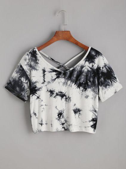 Camiseta corta con estampado tie dye de espalda cruzada