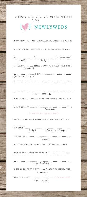 Mad-Lib marriage advice cards. It would be interesting to see everyone's advice.