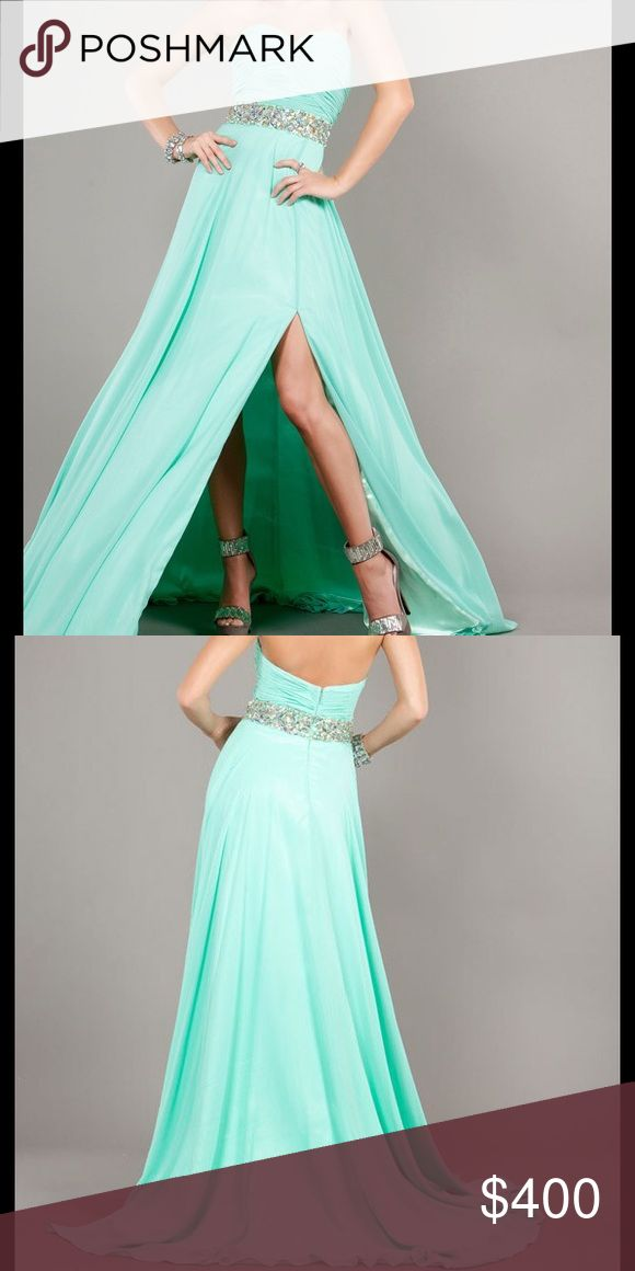 ‼️HUGE PROM SALE‼️ NWT Jovani Strapless Mint Gown ‼️25% OFF‼️ Strapless chiffon Jovani sexy prom dress features a ruched bodice and iridescent jeweled beadwork at the waistline. One of Jovain's top ten styles. Jovani Dresses Prom