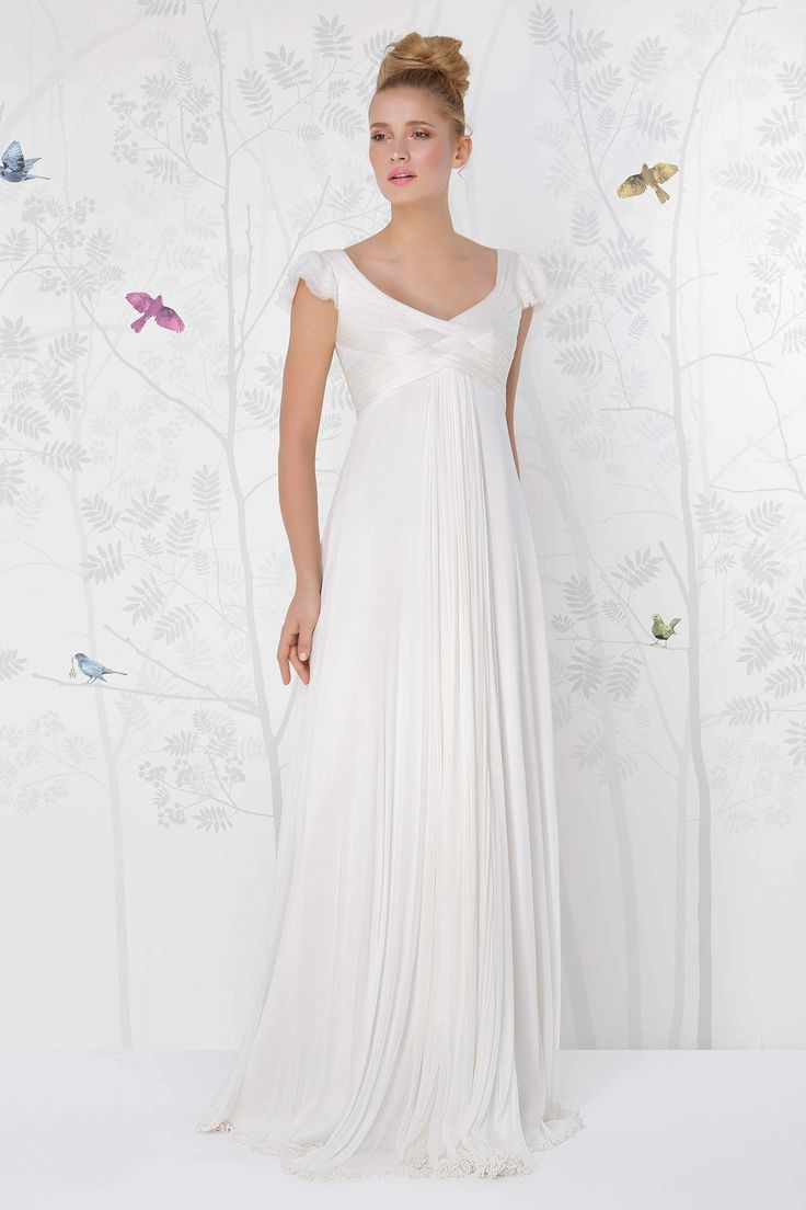 SADONI wedding dress SARDINIA with empire cut and silk tulle sleves