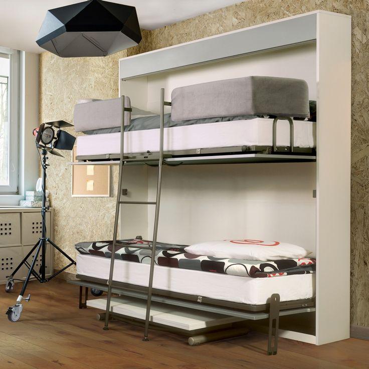 Les 25 meilleures id es de la cat gorie lit superpos escamotable sur pinterest bureau lit - Lit superpose pour tout petit ...