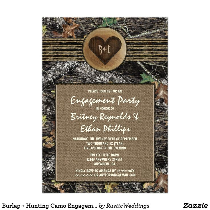 Burlap + Hunting Camo Engagement Party Invitations