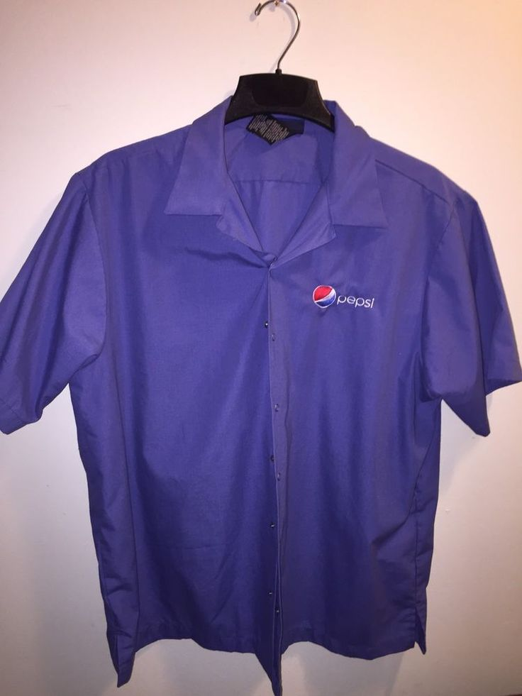 Mechanic Snap Button Up Shirt Pepsi Work Uniform #Mechanic #ButtonFront