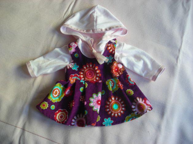 Puppenkleidung - Lila geblümter Kleiderrock mit Kapuzenshirt - ein Designerstück von saluhe bei DaWanda - Kleidung für Puppen - Puppensachen - Geschenkidee - Idee für Kinder