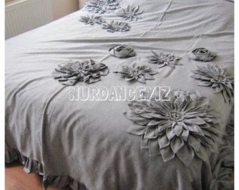Shabby chic lino grigio biancheria da letto - fioritura della Dalia fiore Applique lusso-paese-piumone copriletto coprire - regina-re-cal re Nurdanceyiz Turchia