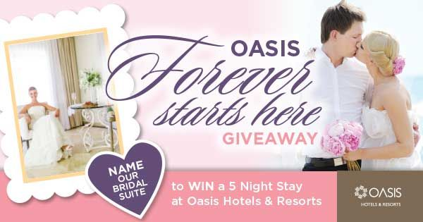 Name our Bridal Suite Contest! Enter to WIN a 5 Night Stay at the Grand Oasis Sens in Cancun, Mexico!