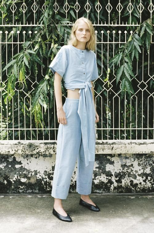 Seeker x Retriever Sustainable Handmade Fashion Pants Origami Trousers: Sky