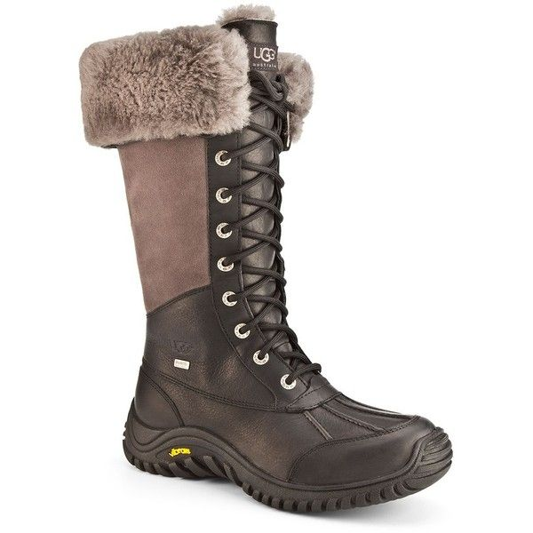 Ugg Adirondack Tall Leather Boots ($295) ❤ liked on Polyvore featuring shoes, boots, black, tall boots, tall leather boots, cuffed boots, tall black boots and shearling-lined leather boots