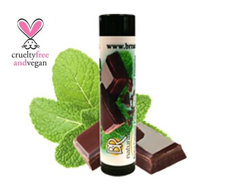 NATURAL MINT CHOCOLATE LIP BALM  A fresh, delicious chocolate treat for your lips with the cooling sensation of peppermint.