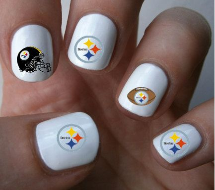 68 best steelers nails images on pinterest fashion black and pittsburgh steelers nfl nail art decals nail stickers prinsesfo Images