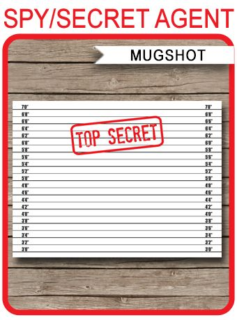"""✶ INSTANT DOWNLOAD ✶ Spy Party Mugshot Backdrop with """"TOP SECRET"""" stamp. Perfect as a background for your Spy or Secret Agent Party photos."""