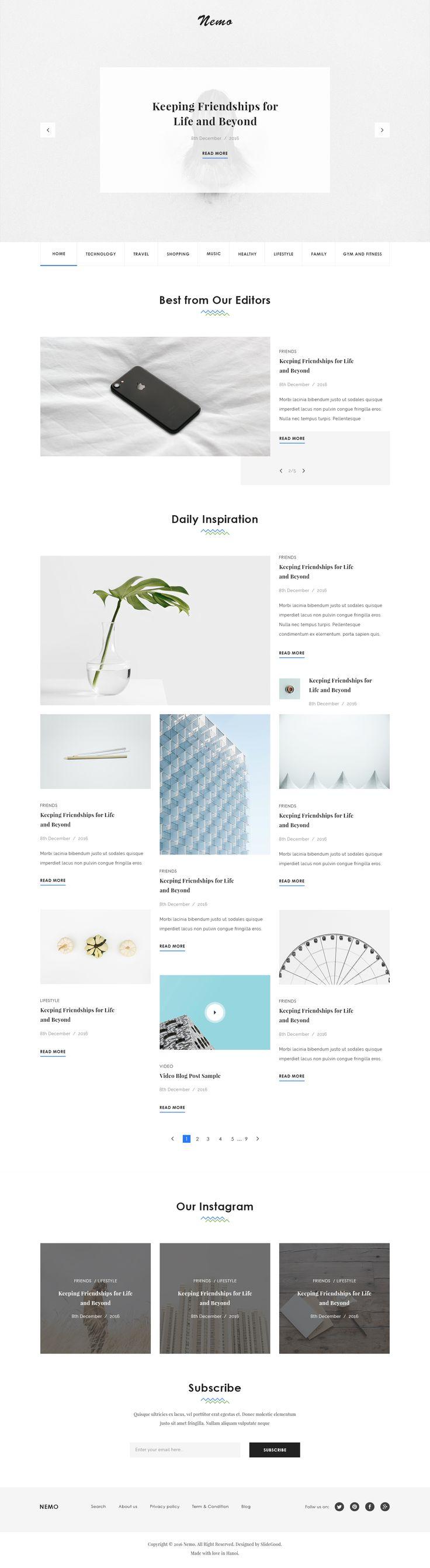 Nemo Blog PSD Template #mordem blog #portfolio • Download ➝ https://themeforest.net/item/nemo-blog-psd-template/19238016?ref=pxcr