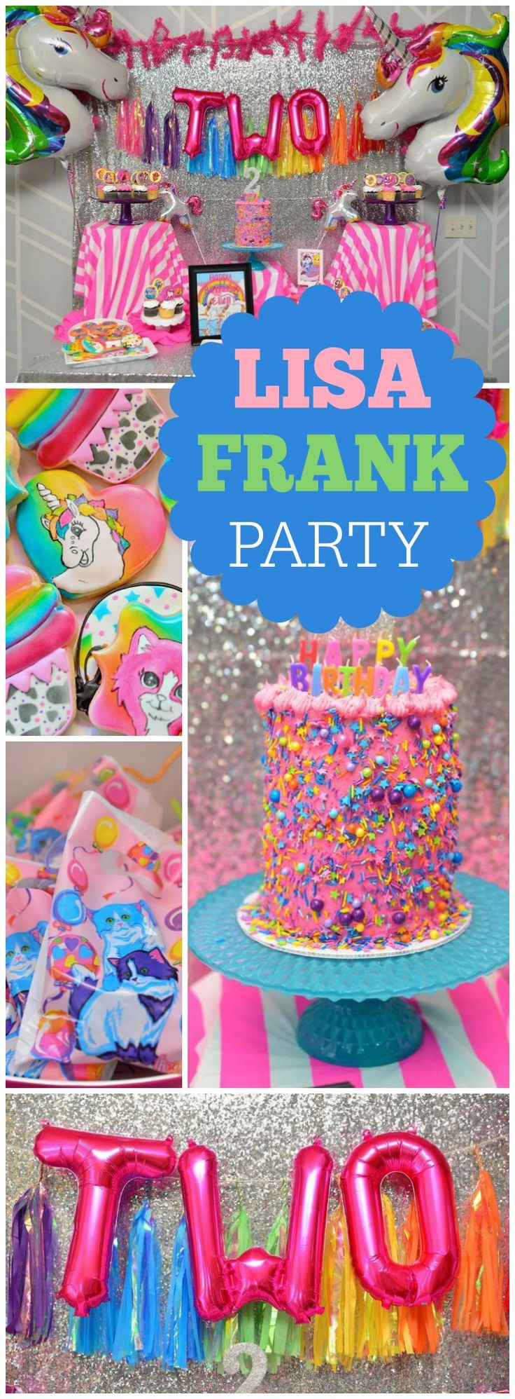 A Lisa Frank inspired party with unicorns, puppies, kittens and rainbows! See more party ideas at CatchMyParty.com!