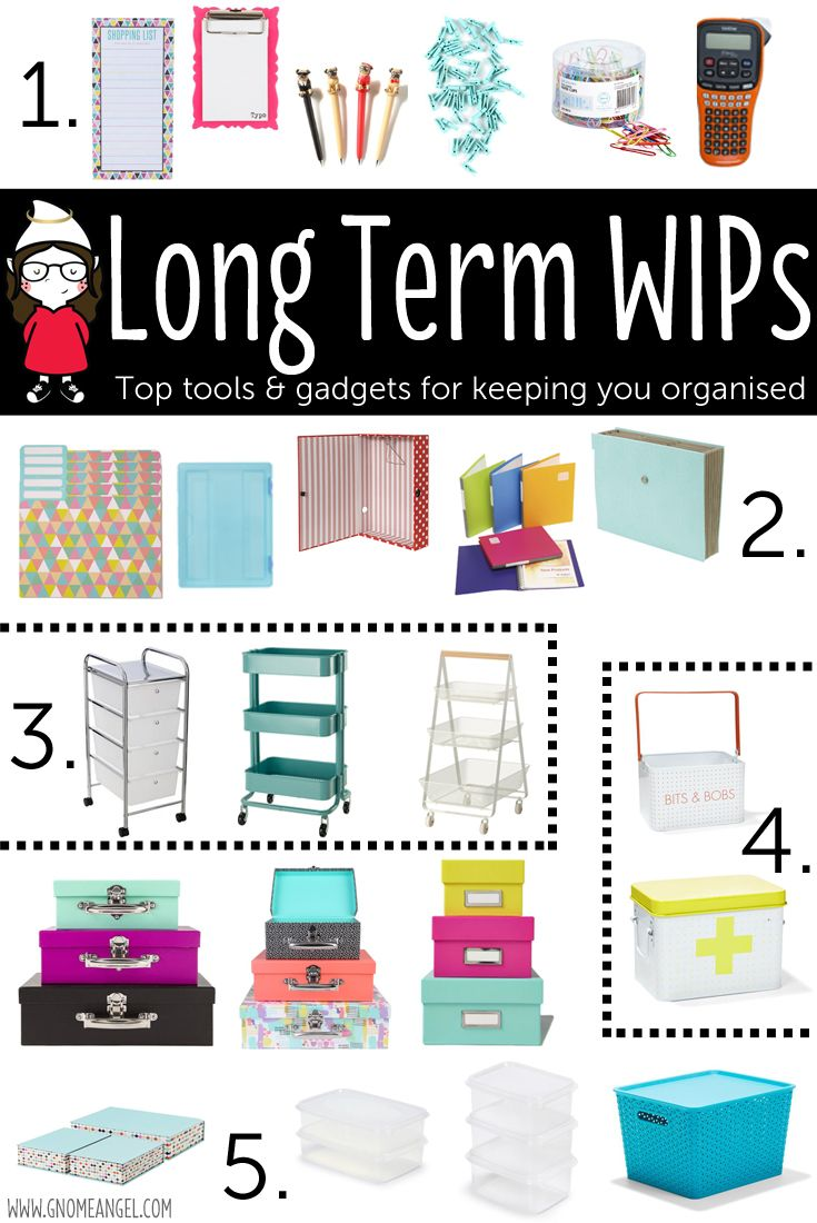 Tips, Tricks & Tools for Long Term WIPs (Works in Progress) by Angie Wilson of GnomeAngel.com - Filled with storage solutions and ideas for those long term craft projects. Get organised with style and have some fun keeping on track. www.gnomeangel.com
