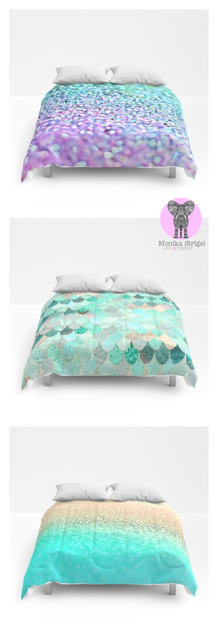 Which one?  Find the cutest comforters for teenage rooms and girl rooms on Society6 in my shop. All shades of mint, pink, purple and pastels. Starting from $89 for twin, queen and king size.  #comforter #duvet #bedding #teenbedding #mermaid #mermaidscales #gold #fading #ombre #girlroom #teenroom #teenbedding #girlbedding #cute #mint #pink #lavender #purple #gold #glitter #sparkly #sparkle #monikastrigel #society6