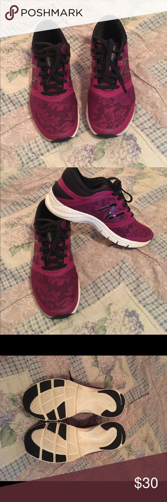 Cross training shoes New Balance Heel Pillow comfort insert athletic shoes, pretty raspberry lace fabric New Balance Shoes Sneakers