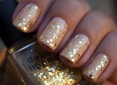 Gold sparkleGlitternails, Nude Nails, Nails Art, Gold Nails, Gold Glitter Nails, Sparkle Nails, Nails Polish, Sparkly Nails, New Years