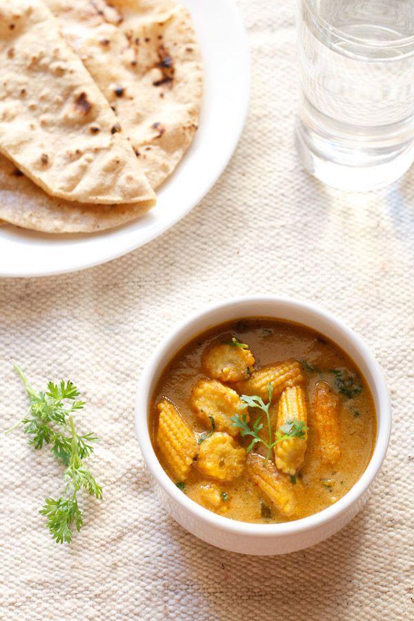 baby corn masala recipe - a creamy baby corn masala curry made in north indian style.  #babycorn
