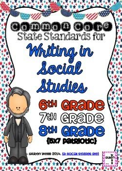 Writing in the Social Studies Common Core Standards Posters! 6th grade, 7th grade, 8th grade {5x7 patriotic posters} (c) Lauren Webb 2014 {a social studies life}