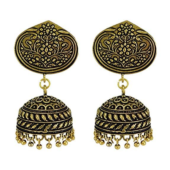 Silvesto India Oxidized Handmade Pearl 3 mm Jhumka Earrings-Jaipuri Jewelry PG-105100