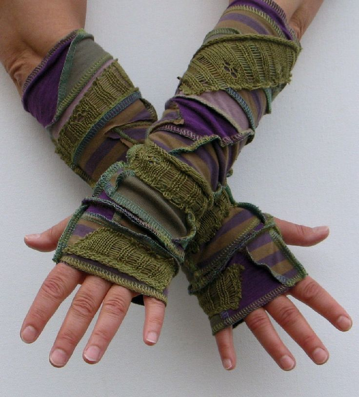 Forest Grunge Arm Warmers, Fingerless Gloves, Olive Sage and Purple, lined with supersoft jersey, made with recycled tshirts