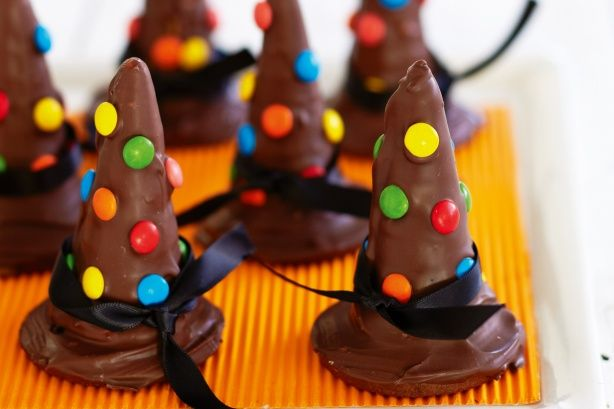 Get into the Halloween spirit with these fright night witch's hat cookies.