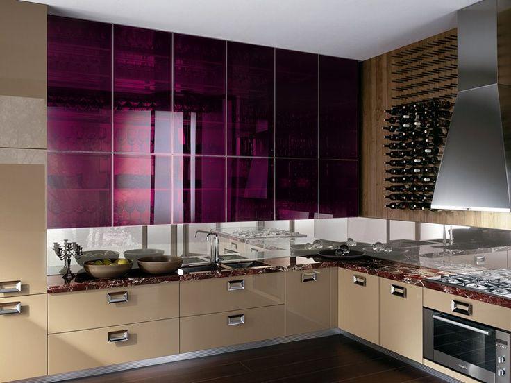 Cucina laccata con maniglie Cucina in marmo Collezione Barrique by ERNESTOMEDA