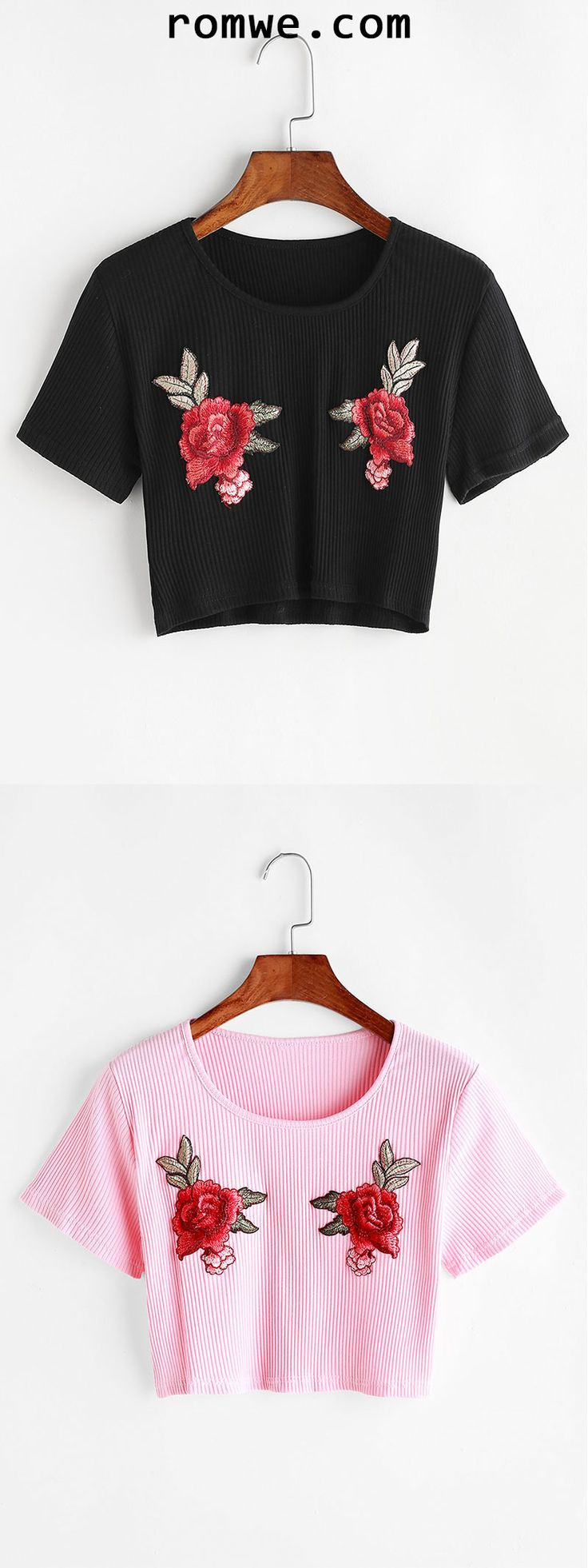 Flower Embroidered Ribbed Knitted Crop T-shirt