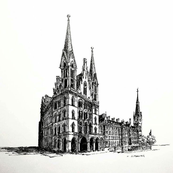 Awesome #architecture #penandink #illustration by Jesse Smith (@jessespencersmith) of the St. Pancras Hotel in Kings Cross London England as one might have seen it circa 1928.  The perspective that Jesse used to draw this historic Gothic Revival hotel makes it look rather small like a model or miniature of the real thing (cue Monty Pythons Holy Grail quote Its only a model). From this view you wouldnt guess that the hotel in this iteration runs about 243 feet from one side to the other and…
