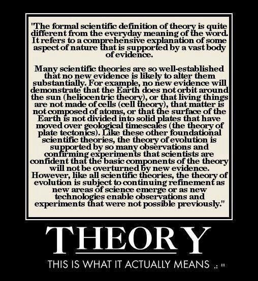 A formal scientific definition of theory is quite different from the everyday meaning of the word.  It refers to a comprehensive explanation of some aspect of nature that is supported by a vast body of evidence.  Heliocentric theory, cell theory, the theory of plate tectonics, the theory of evolution.