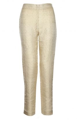 BROCADE TROUSERS - IVORY Brocade Trousers , golden threads woven into the fabric in a slim leg cut, these elegant trousers add instant elegance to your outfits.
