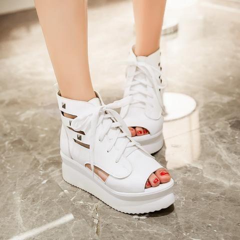 Chaussures Compensées décontractées,à lacets