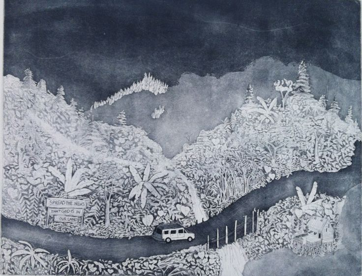 """Samia Singh (India) """"Exploring the North-East"""" 50 x 70 cm Etching 2013"""