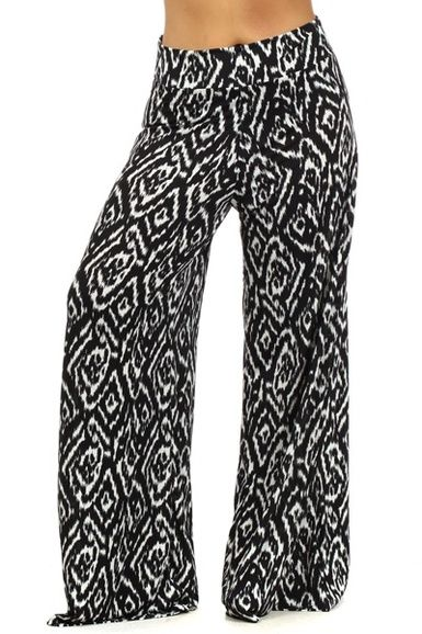 $31.95 Plus Size Palazzo Pants Damask Black - Kelly Brett Boutique