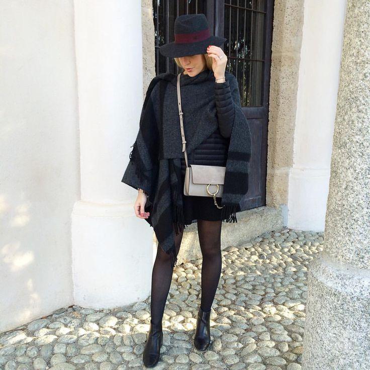"""G r e y #outfit #todayimwearing • poncho #claudiepierlot • doudoune #gertrude • jupe #zara • bottines #zara • chapeau """"Virginie"""" #maisonmichel • sac #faye #Chloé  En action"""
