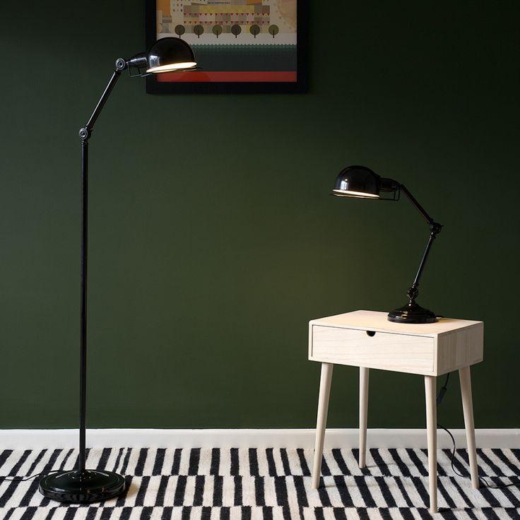 Iconic 'Forton' Swing Arm Adjustable Floor Lamp, Black
