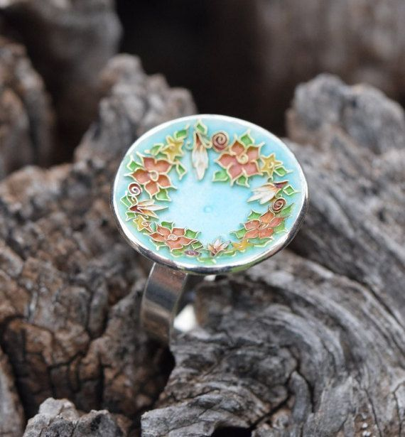 Flower Wreath Ring, #Cloisonne Ring, Sterling Silver Ring, Enamel Ring,Floral Wreath,#Botanical Jewelry,Flower Ring, #OOAK,Giampouras