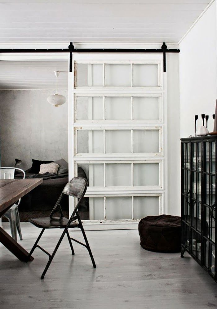 salvaged doors make quick and dirty room dividers- www.urbanboatworks.com