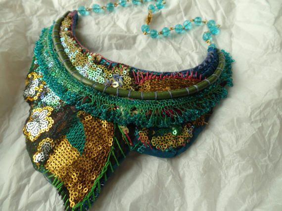 Textile Kette tragbare Kunst Stoffkette von Waschbrett auf Etsy