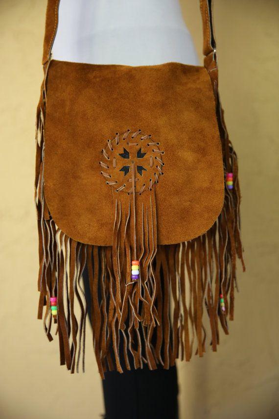 Vintage 1960's 1970s Tan Brown Leather Suede by LoveRocksVintage